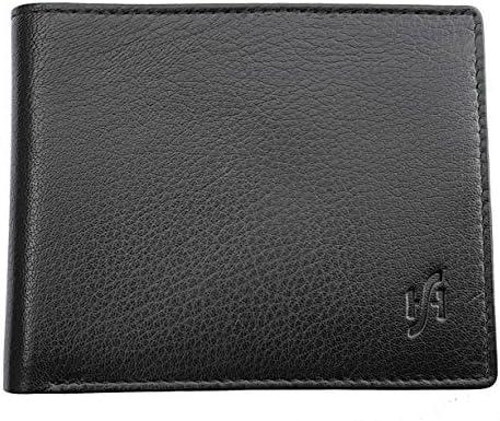 Starhide Men's RFID Blocking Genuine Nappa Leather Billfold Wallet Purse - Photo Id Holder - Coin Pocket Pouch 1216 (Black/Green)