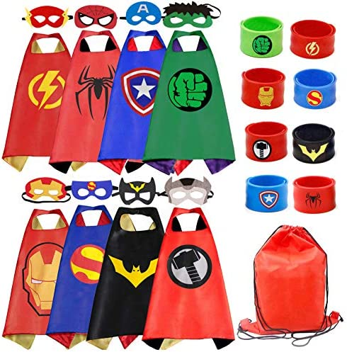Kids Dress Up 8PCS Superhero Capes Set and Slap Bracelets for Boys Costumes Birthday Party Gifts product image
