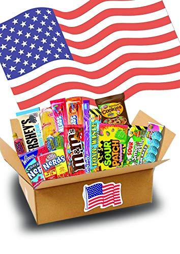 Süßigkeiten Box - USA Sweets - 17 verschiedene Leckereien - Perfekte Geschenkidee - Box voller TOP Bestseller - 24,5x17,5x5cm
