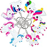 OHill 48 Pack Rainbow Unicorn Keychains Key Ring Decoration Birthday Party Favor Supplies