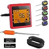 Sonde de Température,Smart Bluetooth BBQ Thermomètre ,6 Canaux 6 Sondes Numérique BBQ Alimentaire,Thermomètre En Temps Réel,Android iPhone iPad iOS -- Version Mise à Niveau OUTAD