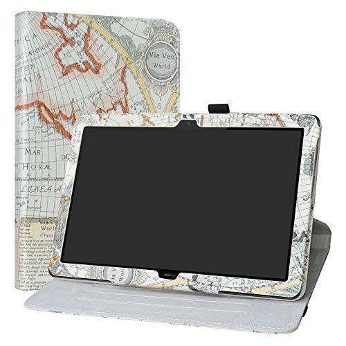 Labanema Huawei MediaPad T5 10 Funda, Rotación de 360 Grados Carcasa con Función de Stand Soporte Cover para Huawei MediaPad T5 10 10.1 Pulgadas 2018 Tablet - Map White