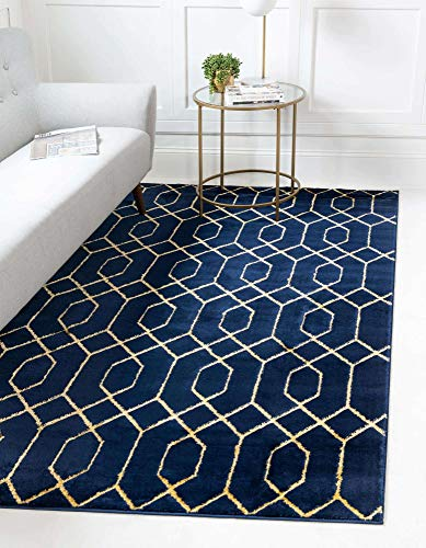 Unique Loom Marilyn Monroe Glam Collection Textured Geometric Trellis Area Rug, 9x12, Navy Blue/Gold