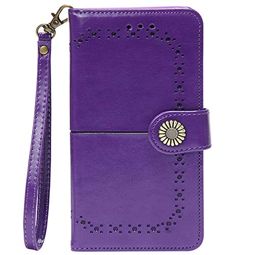 Phone Case for Samsung Galaxy S7 Edge Wallet Cases with Wrist Strap Leather Flip Cover and ID&Credit Card Holder Slot Pockets Cell Glaxay S7edge Gaxaly S 7 Plus Galaxies GS7 7s 7edge Women Men Purple
