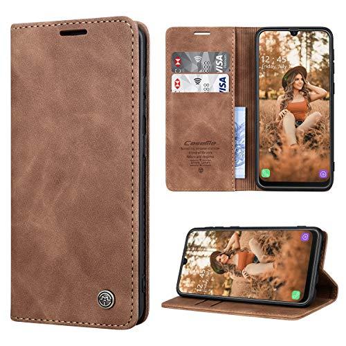 RuiPower Handyhülle für Samsung Galaxy M30s Hülle, Samsung Galaxy M21 Hülle Premium Leder PU Flip Magnet Wallet Klapphülle Silikon Bumper Schutzhülle für Samsung Galaxy M30S/ M21 Tasche - Braun