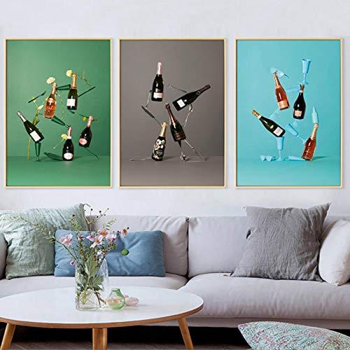 XIANDAI Pintura de la Lona Cartel Moderno Estilo nórdico Impreso Vino Tinto Arte de Pared Creativo Imágenes Hogar Sala de Estar Decoración de bar-40x60cmx3 Sin Marco