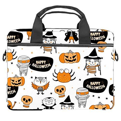 Lindo patrón de Halloween bolsa de mensajero bolso delgado maletín con bandolera bandolera bolsa de ordenador y tableta para 13.4-14.5 pulgadas