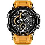 Relojes para Hombre Relojes Reloj Deportivo para Hombres Multifuncional a Prueba de Golpes Larga Vida Cuarzo Digital Impermeable al Aire Libre IWGR (Color : 05negro-Gratis)