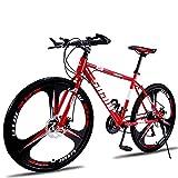 MYJOYSUE Bicicleta de montaña Bicicleta de 26 Pulgadas / 24 Pulgadas Frenos de Disco Doble Cross-Country Velocidad Variable Bicicletas para Hombres y Mujeres Bicicletas con Ruedas de 3 Cuchillas