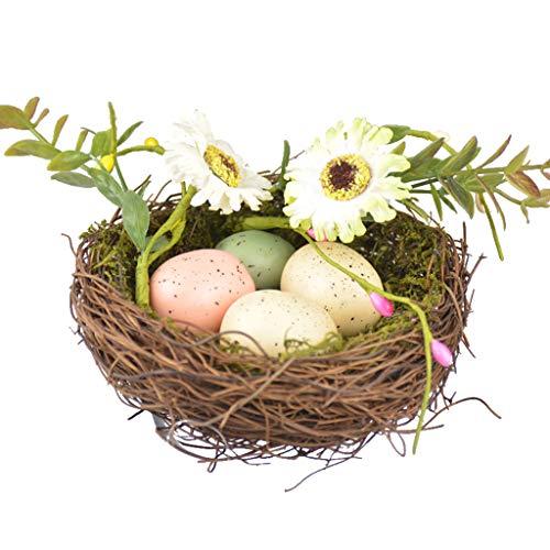 SUCHUANGUANG, simulación de ratán Natural, Nido de pájaro, Espuma, Huevo, Flor, decoración de Pascua, Accesorio DIY, Cama Nido