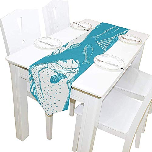 sunnee-shop Vis, naadloze tafelloper, binneninrichting, festival-rechthoekige tafelkleed-loperkoffiemat
