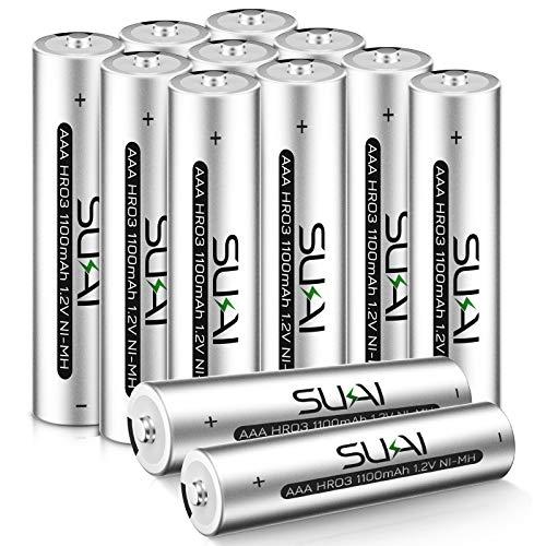 SUKAI Rechargeable AAA Batteries 1100mAh High Capacity, 1.2V Ni-MH AAA Battery 12 Pack