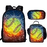 INSTANTARTS Fire Water Softball Ball Backpack Set School Bookbag Book Bag Lunch Box Pencil Case 3 in 1