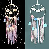 elify Cloud Dream Catcher, Handmade Wall Hanging Traditional Decoration Dreamcatcher Ornament with Ribbon Lace Boho Tassel Feather Led Light for Kids Teen Girl Woman Bedroom Decor Blessing Gift (1pcs)