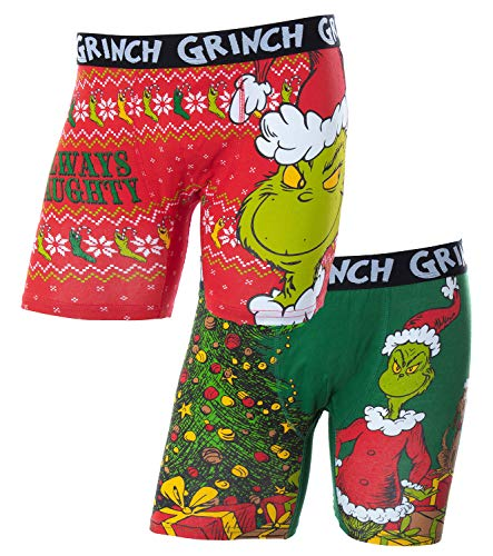 Dr. Seuss Adult The Grinch Who Stole Christmas 2 Piece Underwear Boxer Brief Set (Medium) Red/Green