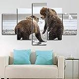 QQWW Cuadro Moderno En Lienzo,5 Piezas XXL Dos Osos Animales luchando Escena HD Abstracta Pared Imágenes Modulares Sala De Estar Dormitorios Decoración para El Hogar