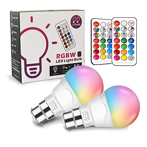 B22 LED Farbwechsel Glühbirne Dimmbar, Äquivalent 40W, Unisun 2700K RGB Bayonet mit Fernbedienung, warmweiße energiesparende Nachtlampe (2-er Pack) [Energieklasse A+]