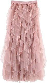 Faldas Mujer Largas Verano Casual para Cómoda De Tul De Cintura Alta Falda Plisada del Tutú De Midi