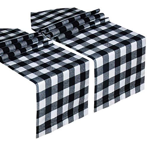 2 Pack Buffalo Check Table Runner Cotton Plaid bianco e nero Design elegante classico per la cena in famiglia Festa di compleanno Festa di compleanno Decorazione della casa (Bianco e nero, 14 x 108 p