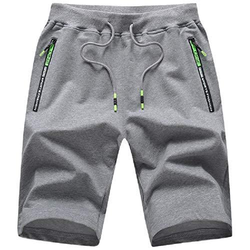 ZOXOZ Pantaloncini Uomo Sportivi Pantaloni Corti Uomo Shorts Uomo Cotone Pantaloncini Running Uomo con Tasche Zip Estivi Pantaloni Elasticizzati Grigio L