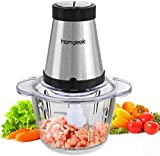 Food Processor, Homgeek Food Chopper, 300W Meat Grinder, Food Processor and Blender, 1.2L, Mini Chopper, Mini Food Processor, Baby Food, 2 speeds for Mincing, Chopping, Grinding, CH-2002