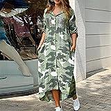 QUNLIANYI Femmes Élégant Camouflage Imprimé Paillettes Chemise Maxi Robe Printemps Col Rabattu à Manches Longues Robes Poches XL Vert