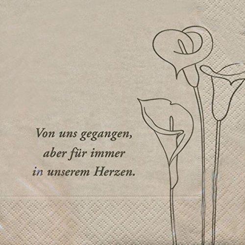 AvanCarte Trauer Servietten Von Uns gegangen, Aber für Immer in unserem Herzen 20 Stück 3-lagig 33x33cm