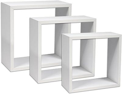 Bianco | No. 403179 Disponibile in Diversi Colori Materiale di Montaggio in Dotazione Libri CD Decorazione TecTake 800702 Set di 3 Mensole