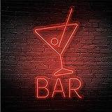 Neon con la palabra Bar | 8 colores diferentes | 3 tamaños | Uso interior | Luminoso | Led lights | (Rojo, S (50 x 97) cm)