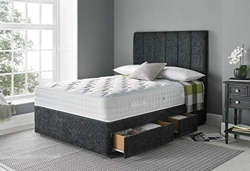 4FT Small double charcoal suede fabric Divan Beds with mattress and headboard-2 Drawers
