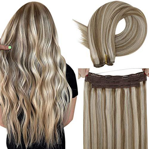 LaaVoo 12 Pouces Lisse Droite Fil Tissage Cheveux Easy Fit Fil Hair Extensions Couleur Du Piano Brun Cendré Mixte Blond Clair Double Weft Cheveux Huma
