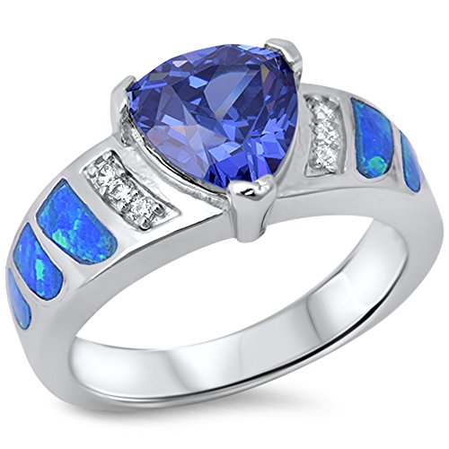 Oxford Diamond Co Simulated Tanzanite Heart, Lab Created Blue Opal & Cz .925 Sterling Silver Ring Size 8