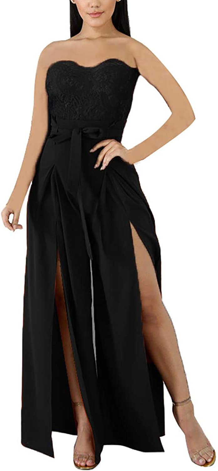 Salimdy Women's Sexy Outfits Strapless Floral Lace Split Wide Leg Summer Party Jumpsuits Rompers