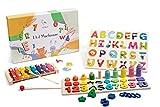 Wigvistork Giochi Montessori Educativi 2 3 4 5 Anni, Set di 3 Giocattoli Didattici in Legno per Gioco Bambini, 2 Puzzle + 1 Xilofono Bambino, Impara Matematica Geometria Alfabeto Musica