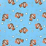 Loopomio Jersey Stoffe Nemo Fische neon hellblau 1,00m x VB