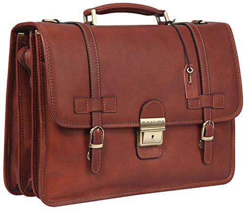 Banuce Vintage Full Grains Italian Leather Briefcase for Men Lock Lawyer Attache Case 14 Inch Laptop Messenger Bag Tote Shoulder Business Bag