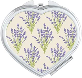 DIYthinker Flowers Plant Painting Lavender Heart Compact Makeup Mirror Portable Cute Hand Pocket Mirrors Multicolor