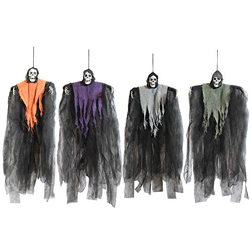 JOYIN 4 Pack 24″ Hanging Grim Reapers, Halloween Ghost with different colored flowing robe for Best Halloween Decorations