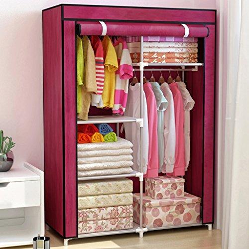 Garderobe QFF stalen frame opvouwbare montage doek stalen buis versterkt kleine enkele slaapzaal Closet Wijn Rood