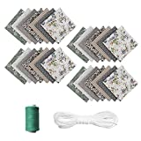 28 piezas de tela de algodón por metros, 25 x 25 cm, 20 m x bandas de goma, tela de algodón para coser telas, patchwork con múltiples patrones para coser, color gris