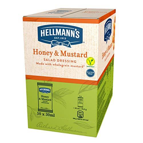 Hellmann\'s Salsa Miel y Mostaza Monoporciones para ensalada, sin gluten y vegetariana - 50 Sobres 30ml