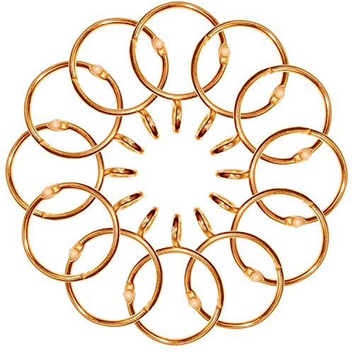 CUKCIC Curtain Rings Metal Hanging Rings for Drapery Curtains Rods, Openable Ring with Eyelet (38mm Internal Diameter, Rose Gold, 12 Pack)