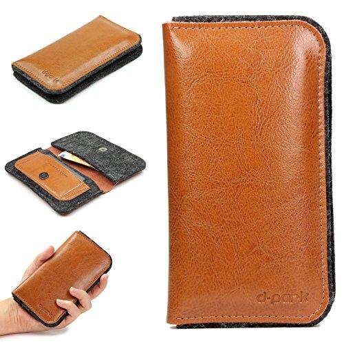 URCOVER Custodia Universale 4' pollici per Smartphone   Wallet Case D-Park   Cover Portafoglio in Vera Pelle e Feltro in Marrone   Chiusura a Libro