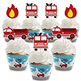 Big Dot of Happiness Fired Up Fire Truck - Cupcake Decoration - Firefighter Firetruck Baby Shower or Birthday Party Cupcake Wrappers and Treat Picks Kit - Set of 24
