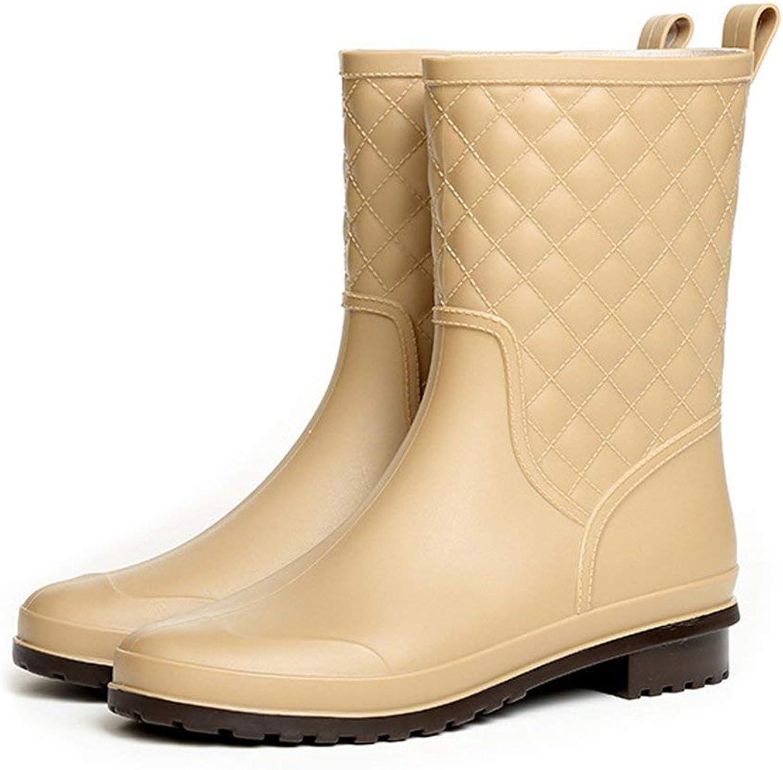 KAOKAOO Womens Mid Calf Rain Boots Outdoor Work Waterproof Garden Booties Wide Calf Rain shoes