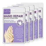 Masque pour Mains 5 paires, lavande Gants Hydratants pour Mains avec Collagène,Sérum et Vitamines, pour Mains sèches et Gercées, Blanchissant et Anti-âge, Réparent la Peau Rugueuse