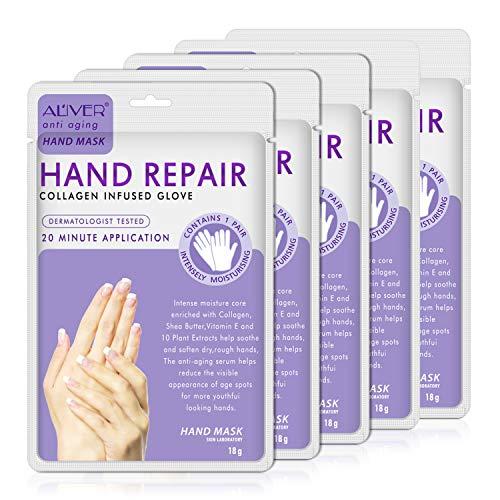Handmaske, 5 Paar Feuchtigkeitshandschuhe Infundiertes Kollagen, Serum, Vitamine, natürliche Pflanzenextrakte für trockene, rissige Hände, Bleaching und Anti-Aging, Reparatur rauer Haut