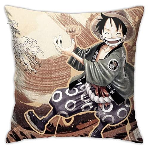 KINGAM Anime One Piece Monkey D. Luffy - Funda de almohada cuadrada ligera para decoración del hogar con cremallera visible, fundas de almohada x Lnch.
