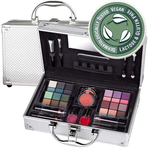 Edle Cosmelux Lidschatten Make-up ALU Koffer VEGAN Schminkkoffer 38tlg (e758)