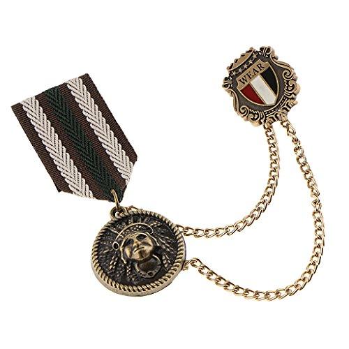 Bonarty Insignia de Medalla Militar Retro Unisex Estilo Azul Marino Broche Pin de Solapa Joyería